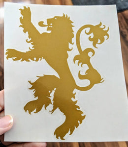 Hear Me Roar! Thrones Inspired Lannister Lion House Sigil for Car, Home, Yeti, Electronics