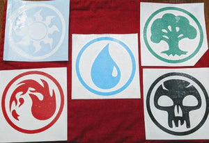 All Magic The Gathering Land Symbols Mountain, Island, Forest, Plains,Swamp Vinyl Decals