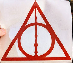 Harry Potter Inspired Deathly Hallows w/ Elder Wand Vinyl Decal for Car, Home, Laptop