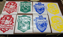 Load image into Gallery viewer, Hogwarts House Crests (Slytherin, Gryffindor, Hufflepuff, Ravenclaw) Vinyl Decals for Car,Home,Yeti,Laptop