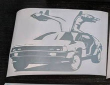 Load image into Gallery viewer, Back to the Future Inspired Delorean with Doors Open Vinyl Decal for Car, Home, Electronics