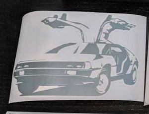 Back to the Future Inspired Delorean with Doors Open Vinyl Decal for Car, Home, Electronics