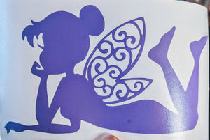Peter Pan's Fairy Tinkerbell Laying Down w/ Intricate Wings Vinyl Decal for Car, Yeti, Electronics