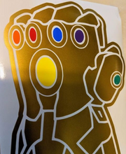 Load image into Gallery viewer, Infinity Gauntlet Vinyl Decal in Metallic Gold w/ Stones for Car/Home/Yeti