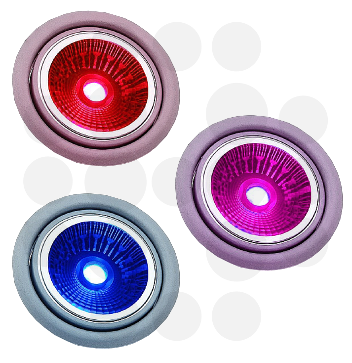 red, blue and purple lights