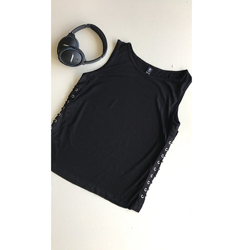 Black lace-up tanktop