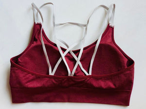 Maroon compression sports bra
