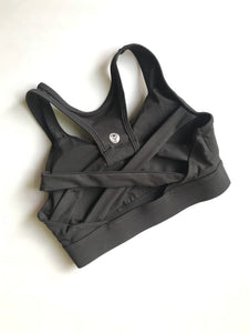 Black cross back sports bra