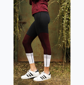 Tri-color mahogany leggings