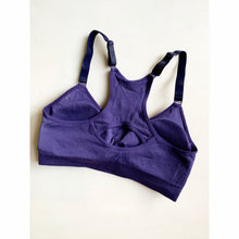Load image into Gallery viewer, Deep purple adjustable strap compression sports bra