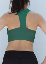 Load image into Gallery viewer, Green T back sports bra