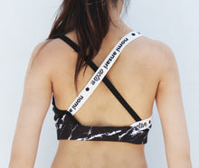 Load image into Gallery viewer, Black marble print sports bra