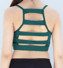 Load image into Gallery viewer, Green 5 strap back sports bra