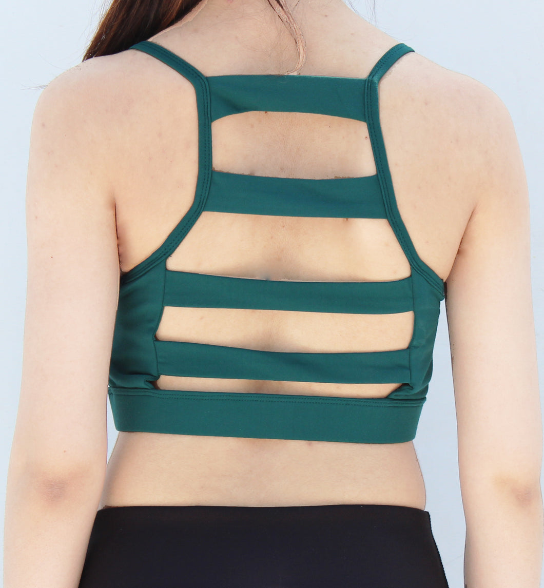 Green 5 strap back sports bra