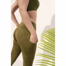 Load image into Gallery viewer, Olive green side pocket leggings