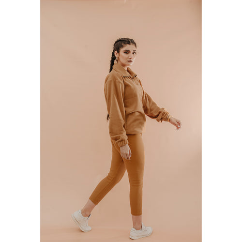Camel color ribb leggings
