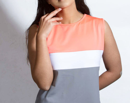 Grey/orange/white tanktop