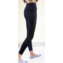 Load image into Gallery viewer, Navy leggings with black knee patch