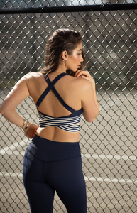 Blue cross strap sports bra
