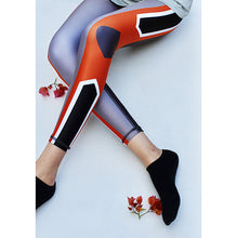 Load image into Gallery viewer, Orange/grey compression tights