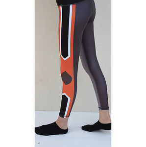 Orange/grey compression tights