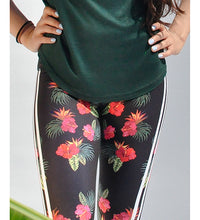 Load image into Gallery viewer, Floral black tights