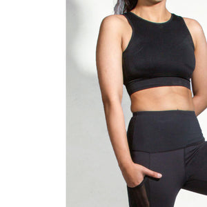 Black mesh compression sports bra