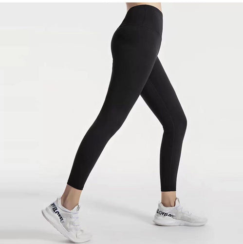 Solid black compression leggings