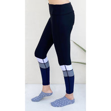 Load image into Gallery viewer, Blue leggings with white and grey stripes. Gym wear Pakistan
