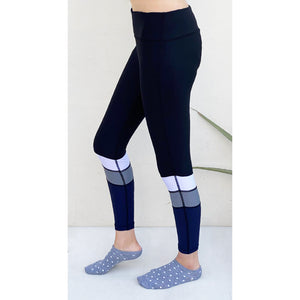 Blue leggings with white and grey stripes. Gym wear Pakistan