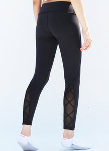 Black mesh back tights