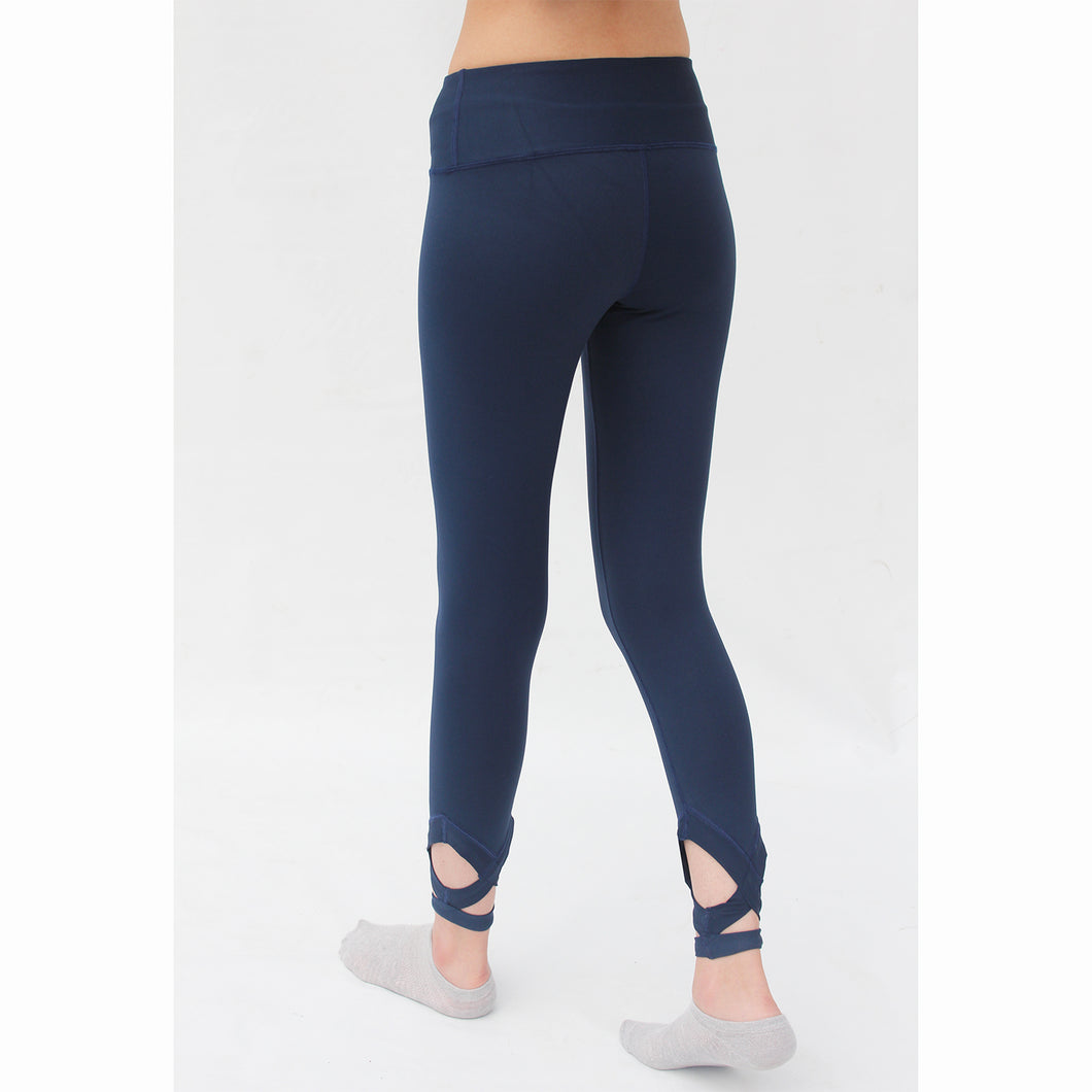 Cross ankle navy blue leggings
