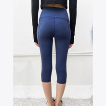 Load image into Gallery viewer, Navy side pocket cropped leggings