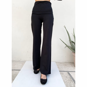 Wide leg fold-over yoga pants