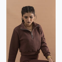 Load image into Gallery viewer, Chocolate brown fleece top