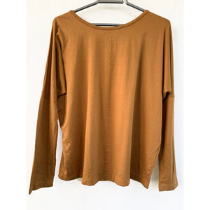 Boat neck camel color top