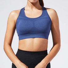 Load image into Gallery viewer, Indigo seamless compression sports bra