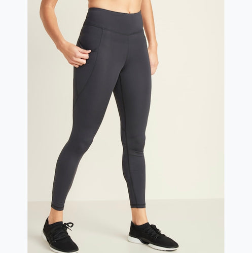 Charcoal grey active wear leggings. Made in Pakistan