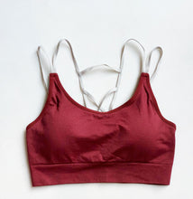 Load image into Gallery viewer, Maroon compression sports bra