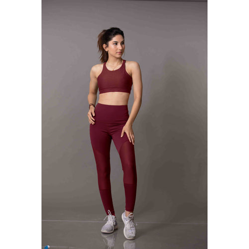 Burgundy high-rise leggings 1