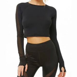 Black mesh cropped top
