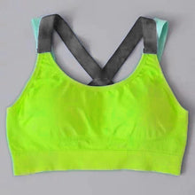 Load image into Gallery viewer, Neon yellow compression sports bra