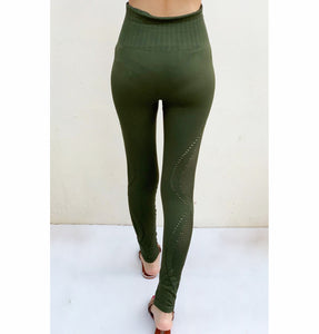 Rifle green seamless compression tights