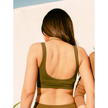 Load image into Gallery viewer, Seamless olive compression sports bra