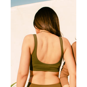 Seamless olive compression sports bra
