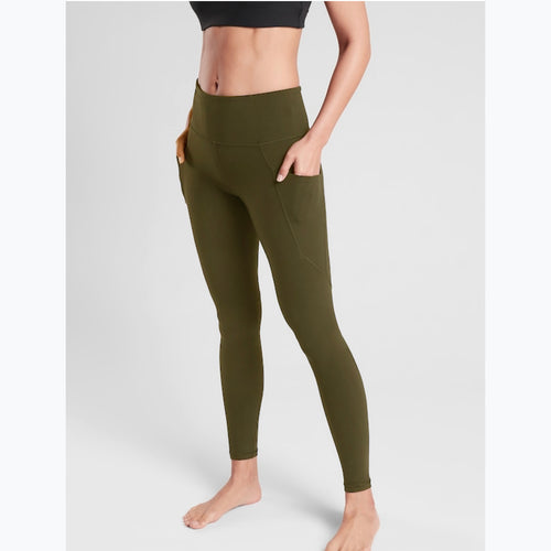 Olive green side pocket leggings