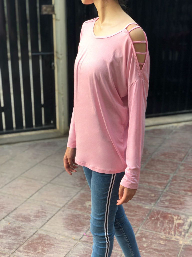 Baby pink off-shoulder top