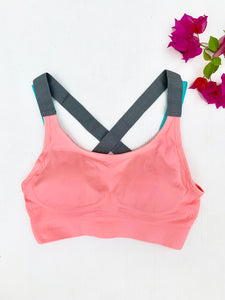 Pink double strap compression sports bra