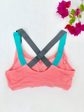 Load image into Gallery viewer, Pink double strap compression sports bra
