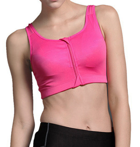 Pink front zip compression sports bra